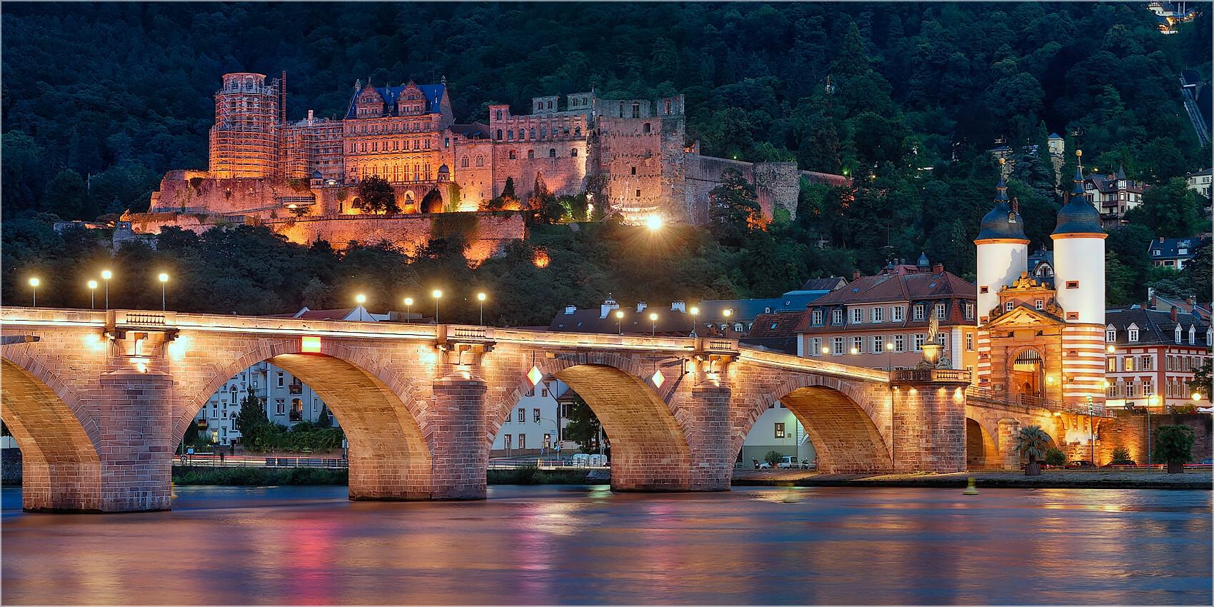 Panoramabild Heidelberg alte Brücke und Schloß