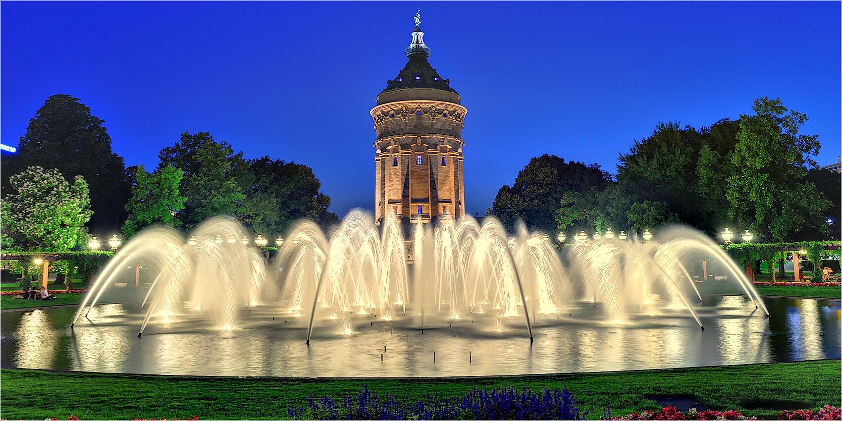Panoramabild Brunnen der  Augustaanlage Mannheim