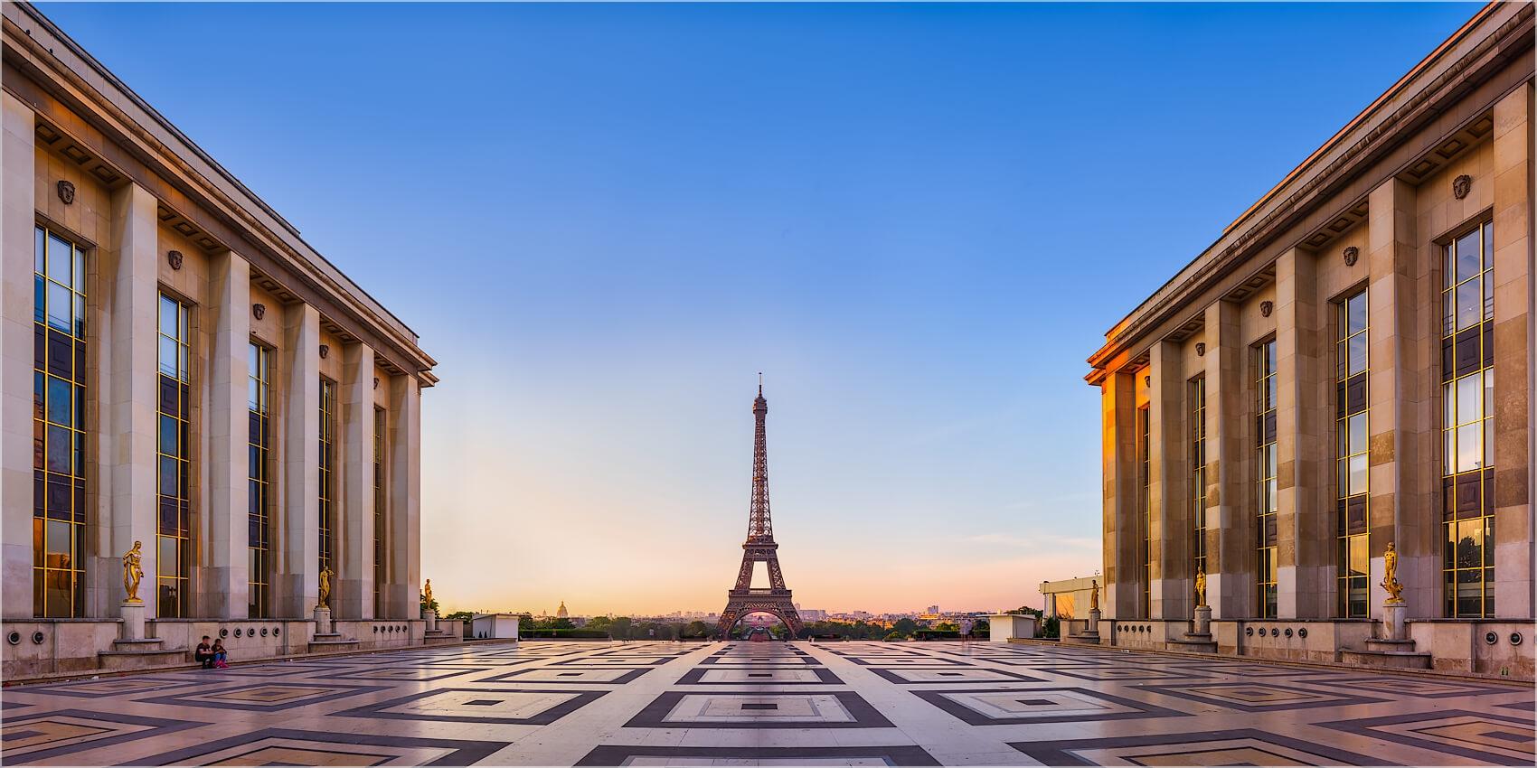 Panoramabild Trocadero Paris mit Eifelturm