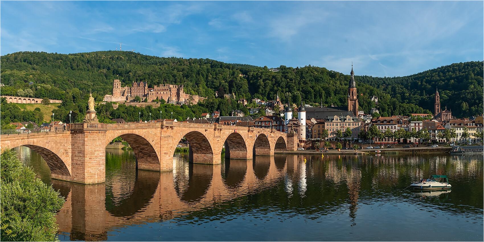 Panoramabild Heidelberg alte Brücke am Neckar