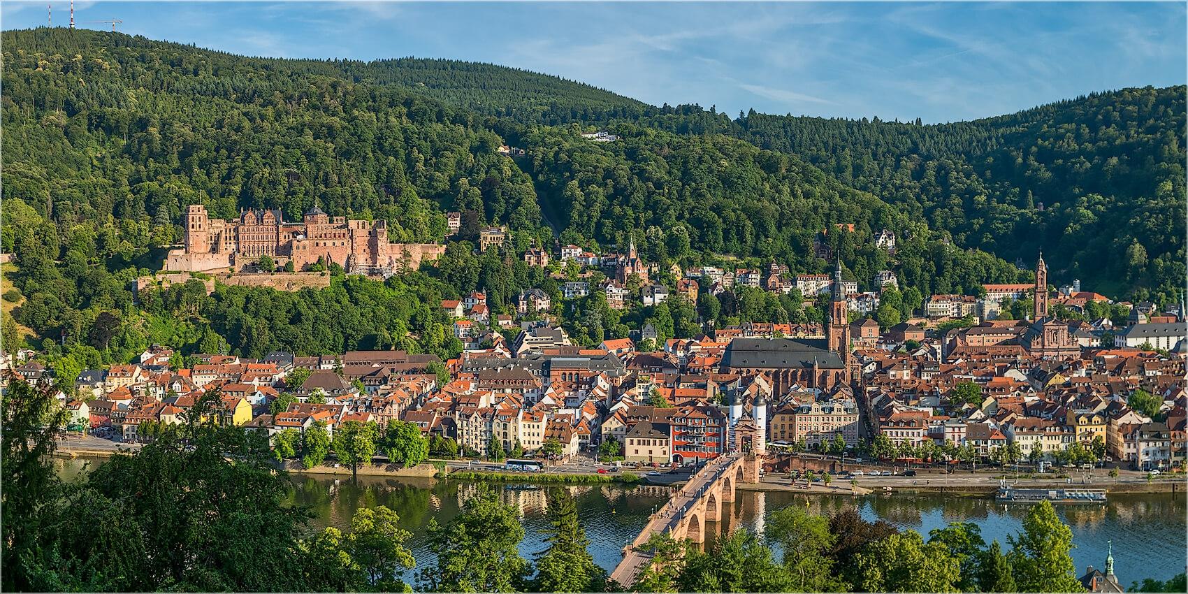 Panoramabild Heidelberg Blick vom Philosophenweg