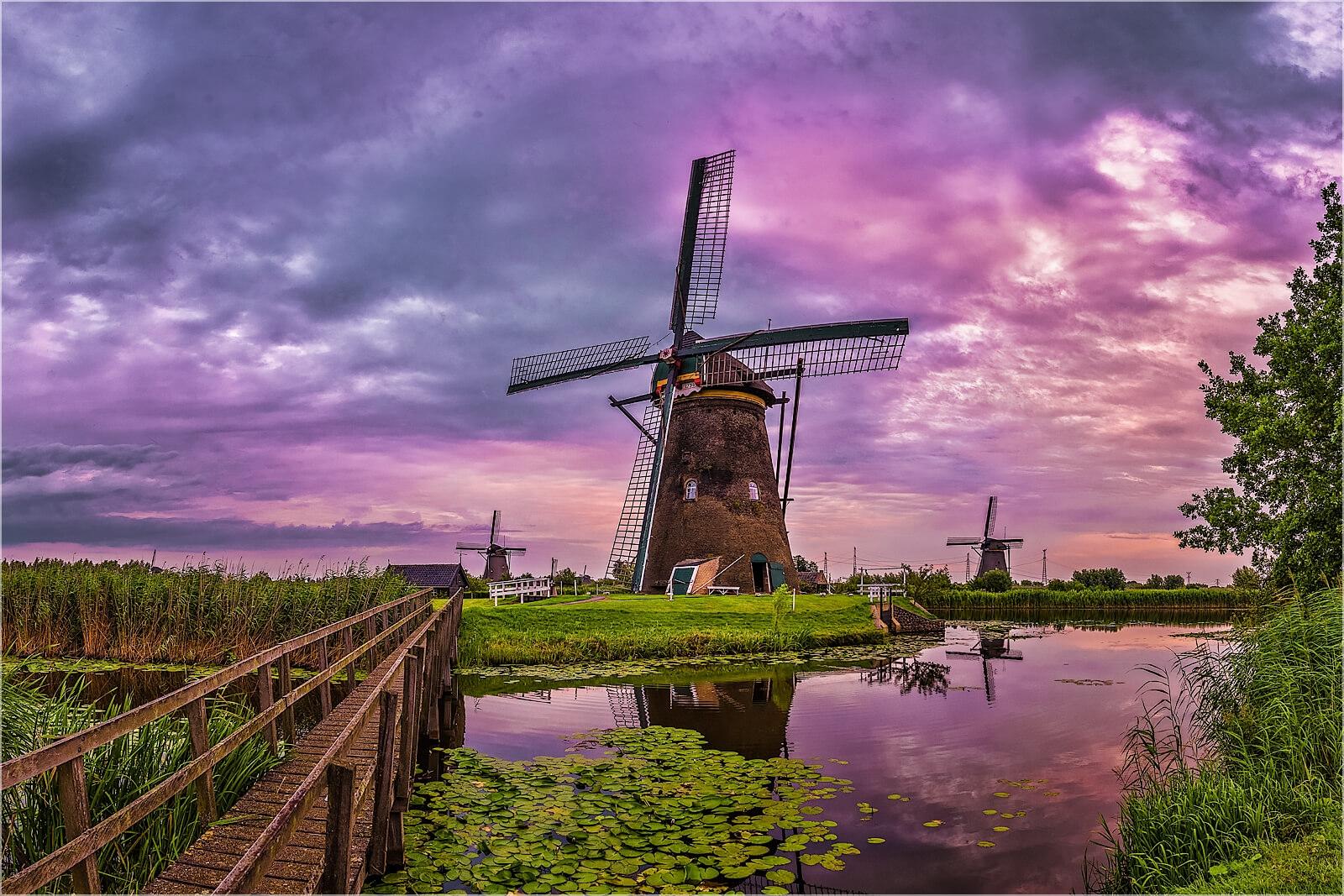 Wanddeko Historische Windmühlen Holland