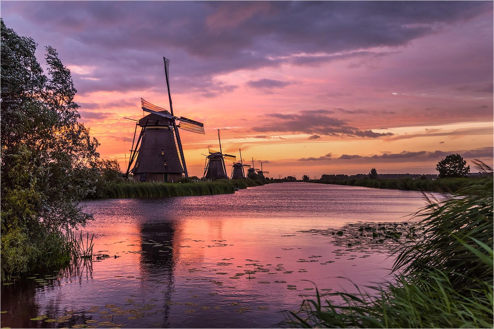 Wandbild Historisches Holland von Kinderdijk