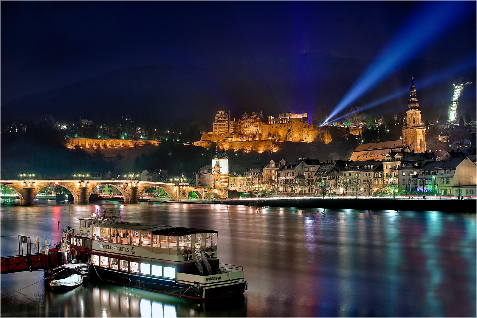 Wandbild Heidelberg bei Nacht