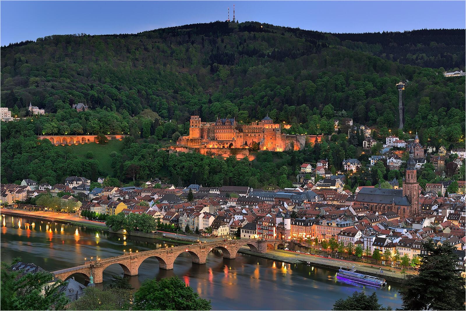 Wanddeko Heidelberg in der Dämmerung
