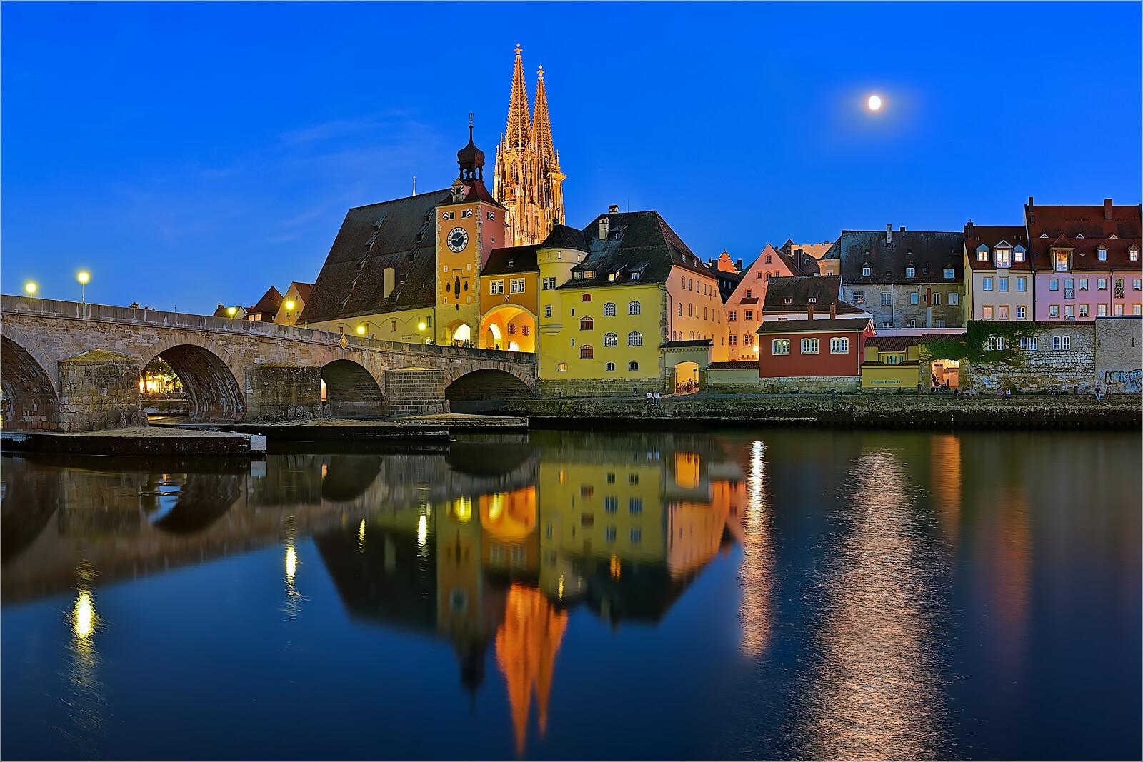 Wanddeko Abendliches Regensburg