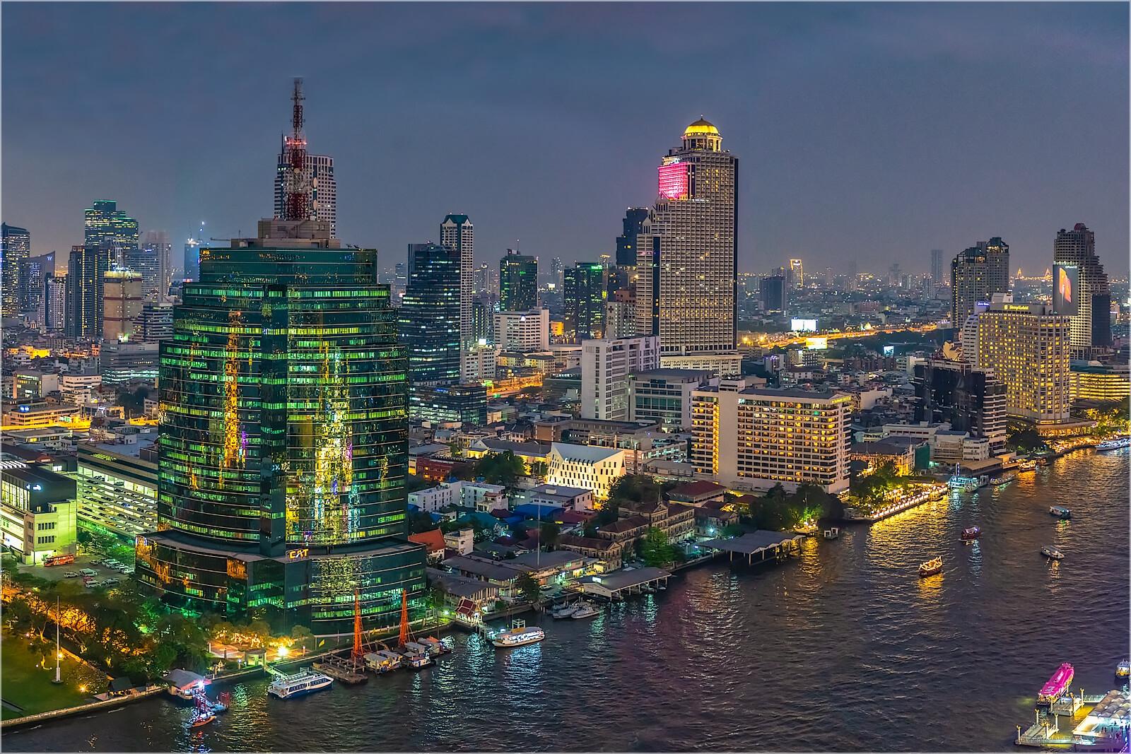 Wandbild Bangkok nächtliche Skyline