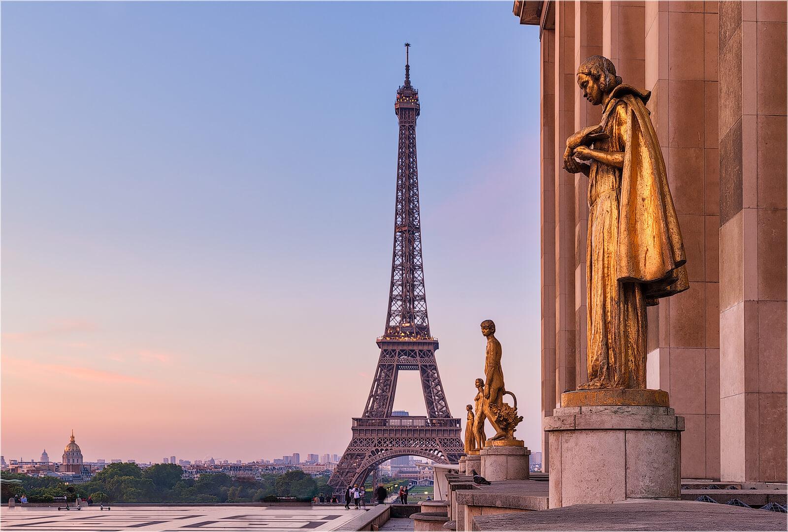 Wandbild Paris Trocadero Sonnenaufgang