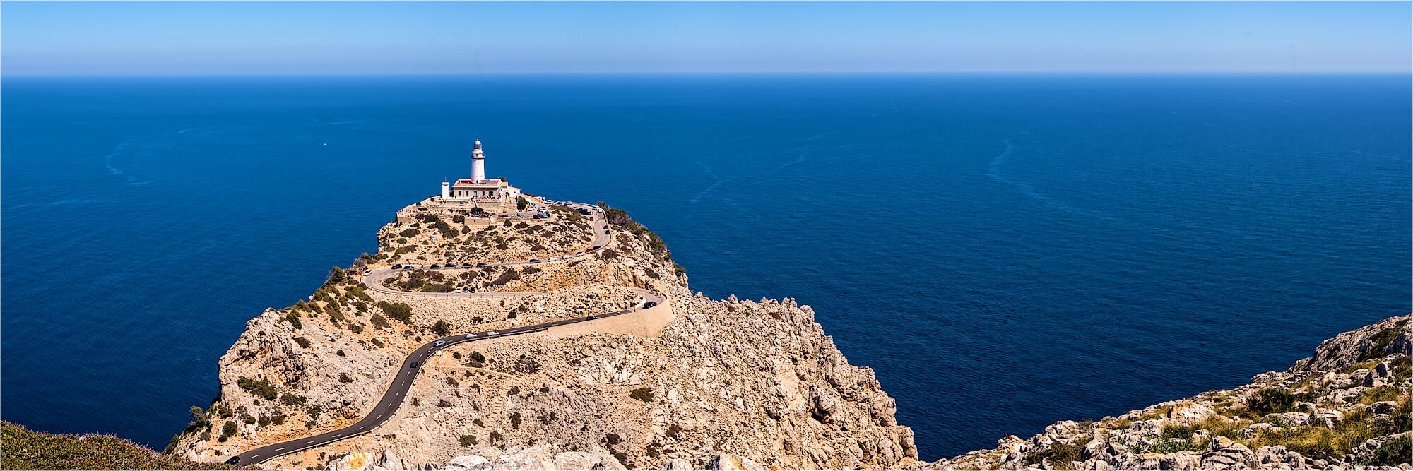 Panoramabild Leuchtturm von Cap Formentor Mallorca