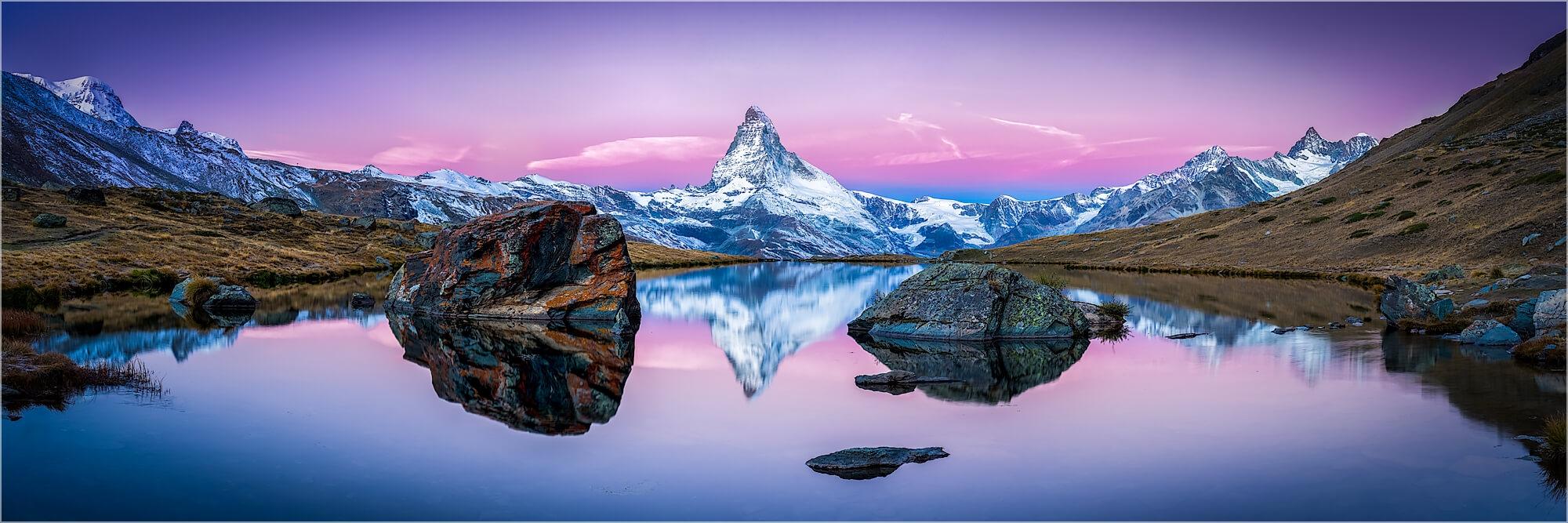 Panoramabild Schweiz Alpen Stellisee am Matterhorn