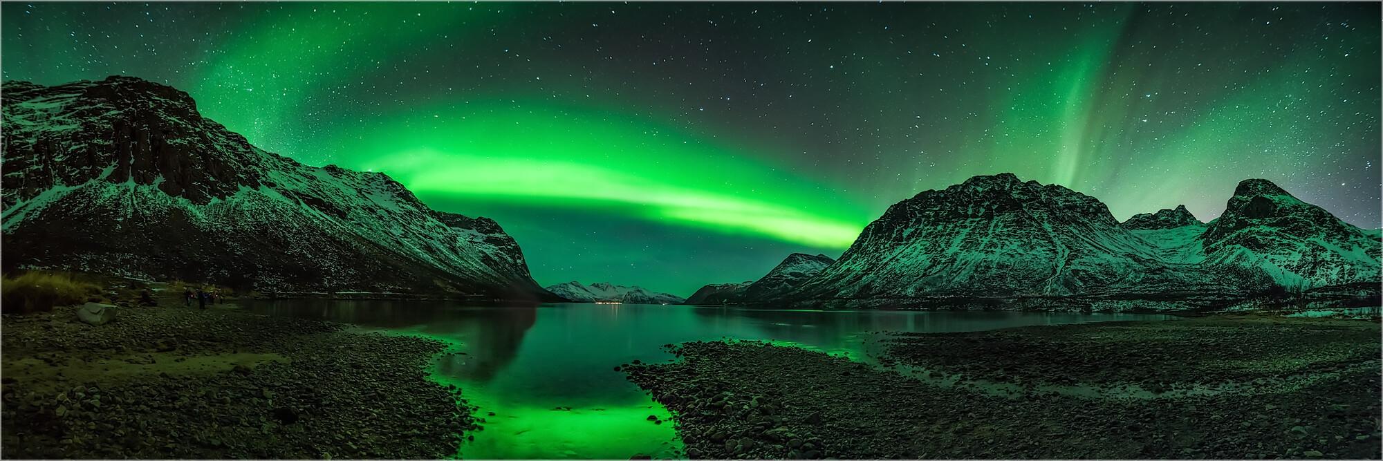 Panoramabild Aurora Borealis Polarlicht in Norwegen