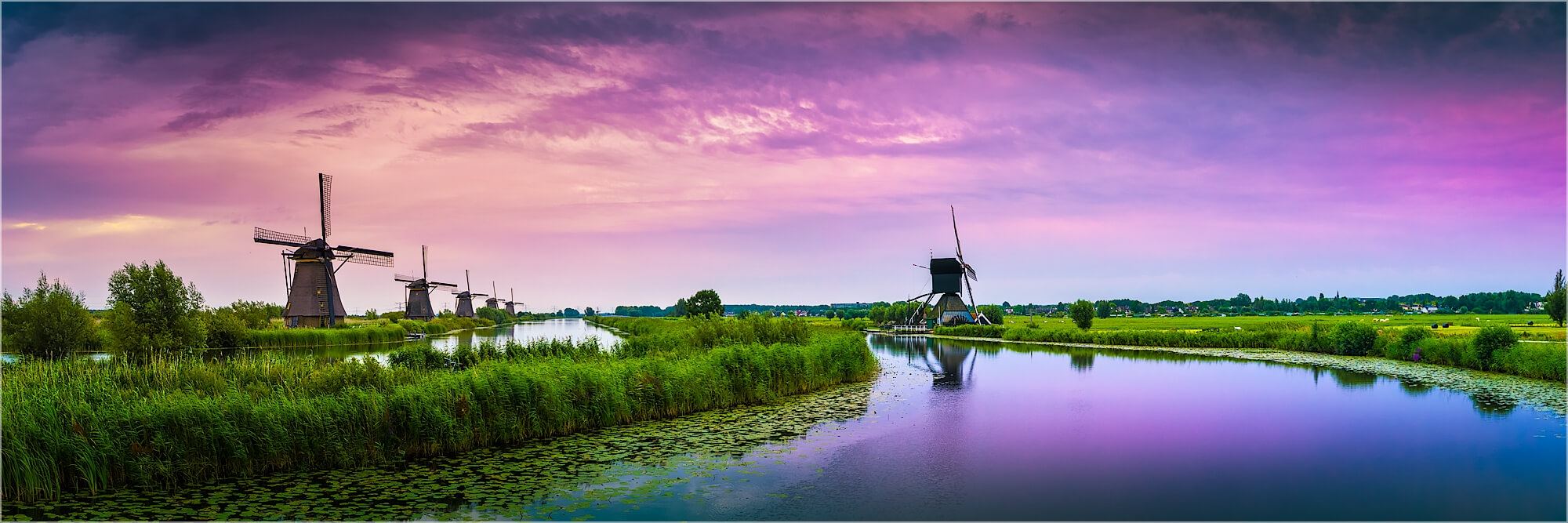 Panoramafoto morgentliche Stille Kinderdijk Holland