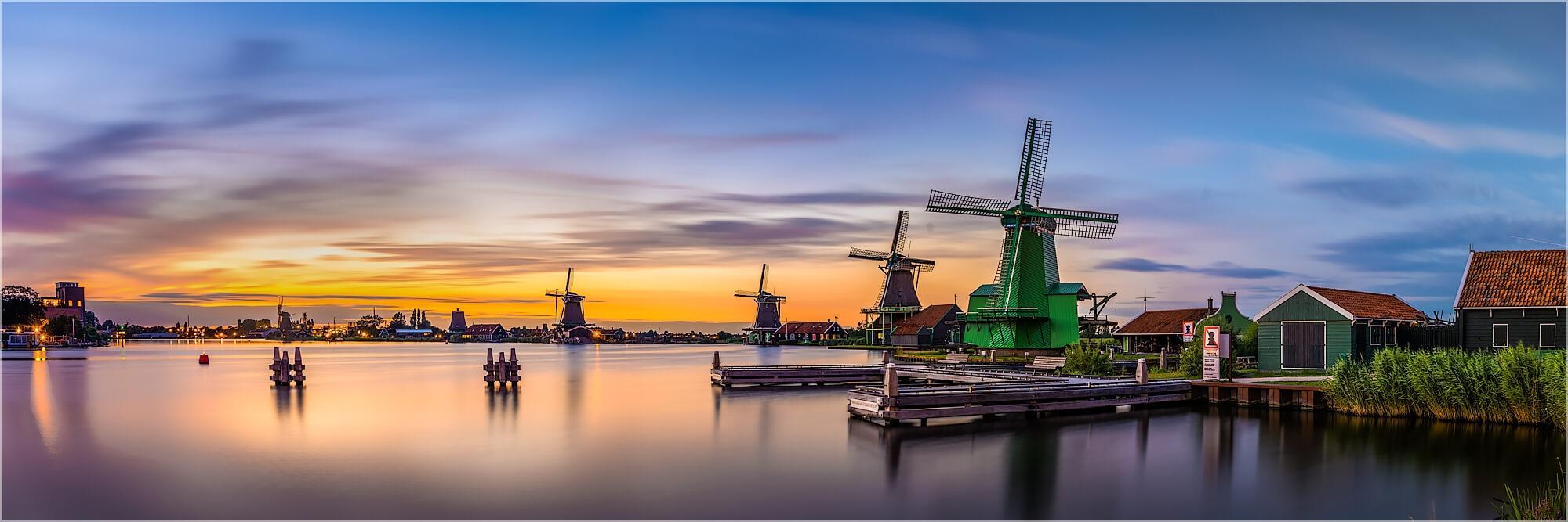 Panoramafoto Windmühlen von Zaanse Schans Holland