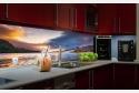 Wohnbeispiel dimmbare LED Küchenrückwand auf Echtglas