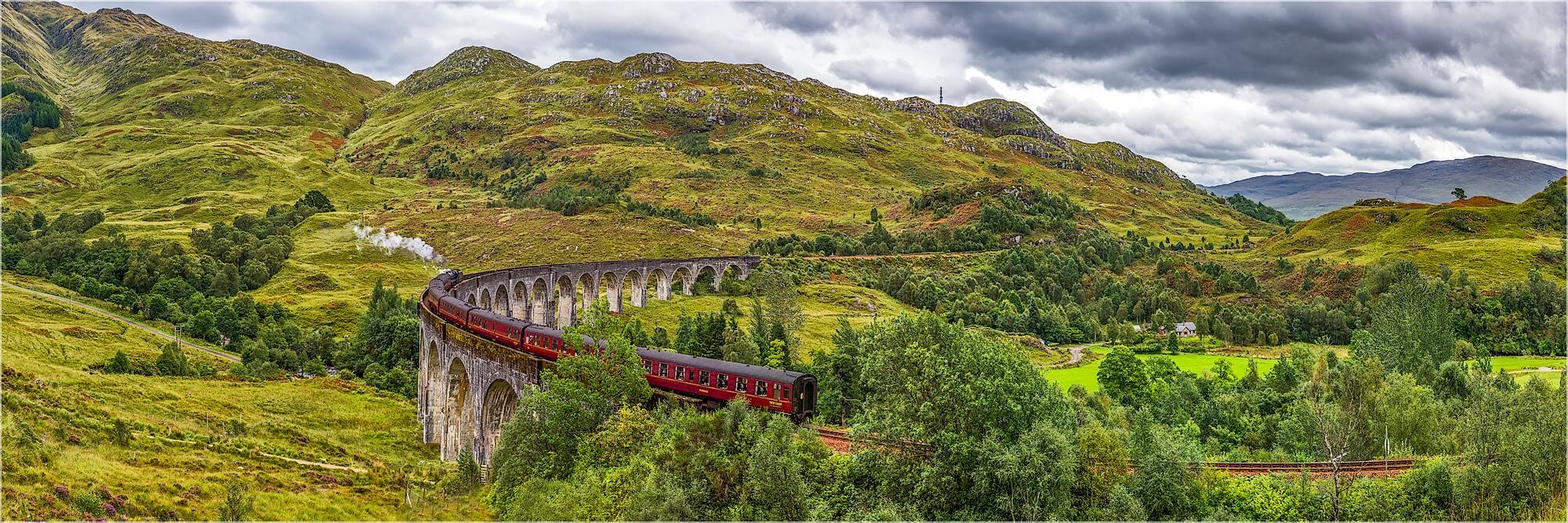 Panoramafoto Schottland Glenfinan Viadukt Jacobite Train