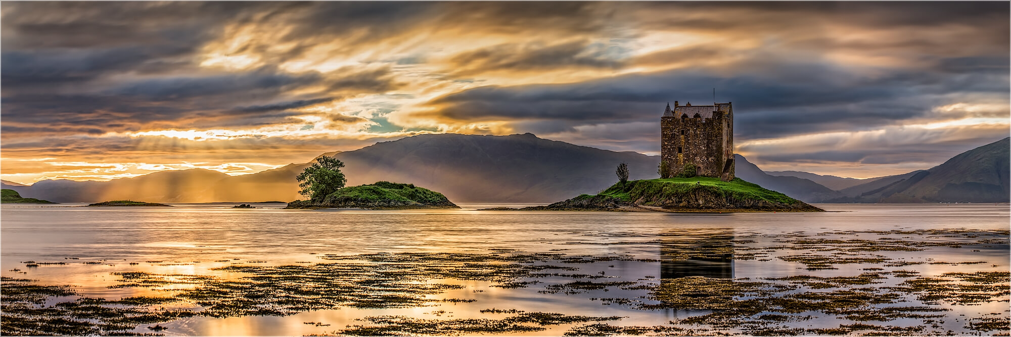 Panoramabild Schottland Castle Stalker Loch Laich