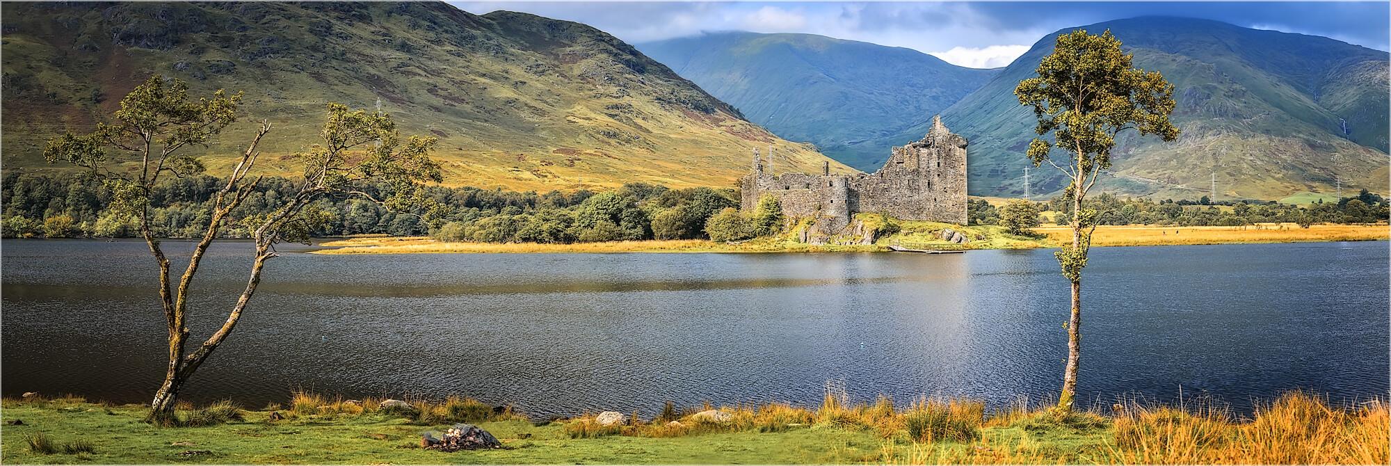Panoramabild Schottland Loch Awe mit Kilchurn Castle