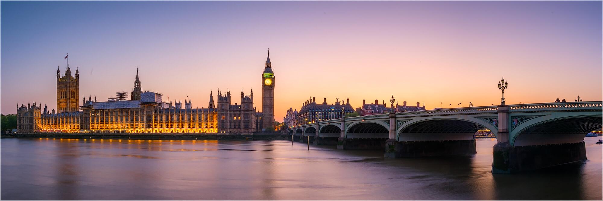 Panoramafoto London Sonnenuntergang über der Themse