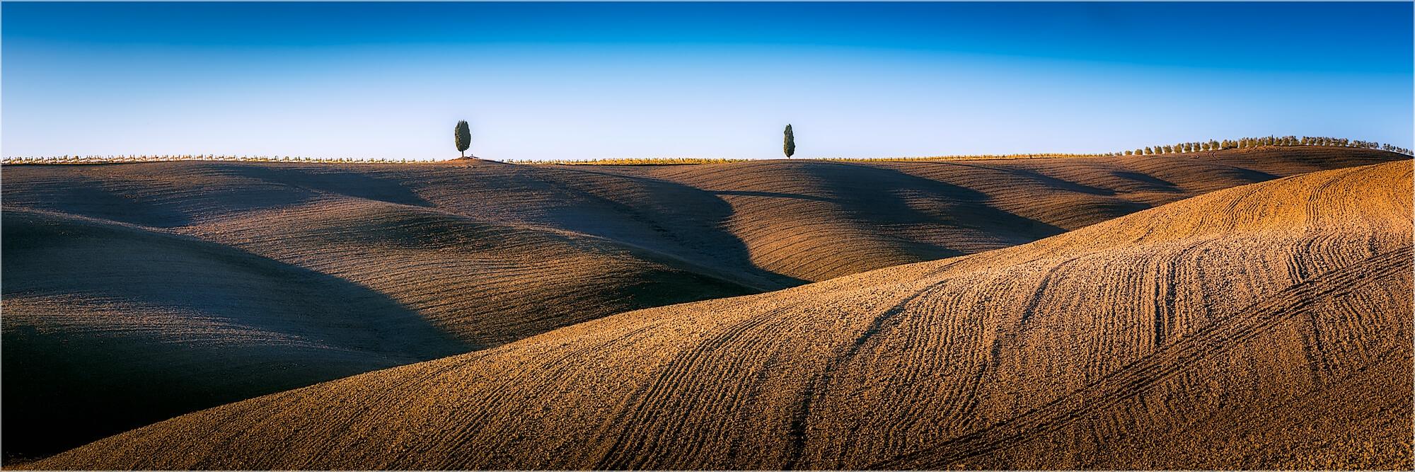 Panoramafoto Herbstliche Hügel der Toskana Italien