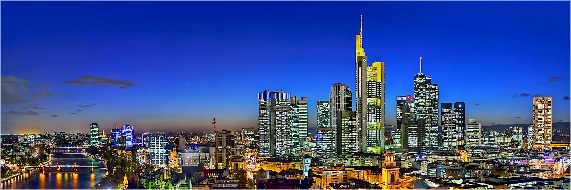 Panoramafoto Skyline Bankenviertel Frankfurt/Main