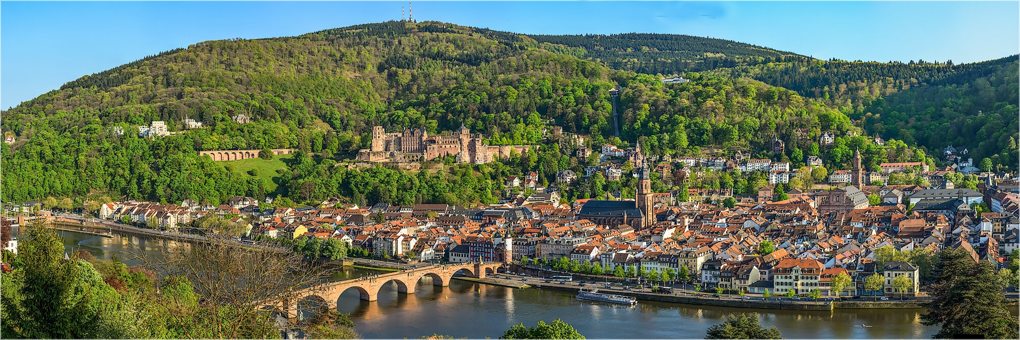 Panoramafoto Heidelberg auf dem Philosophenweg