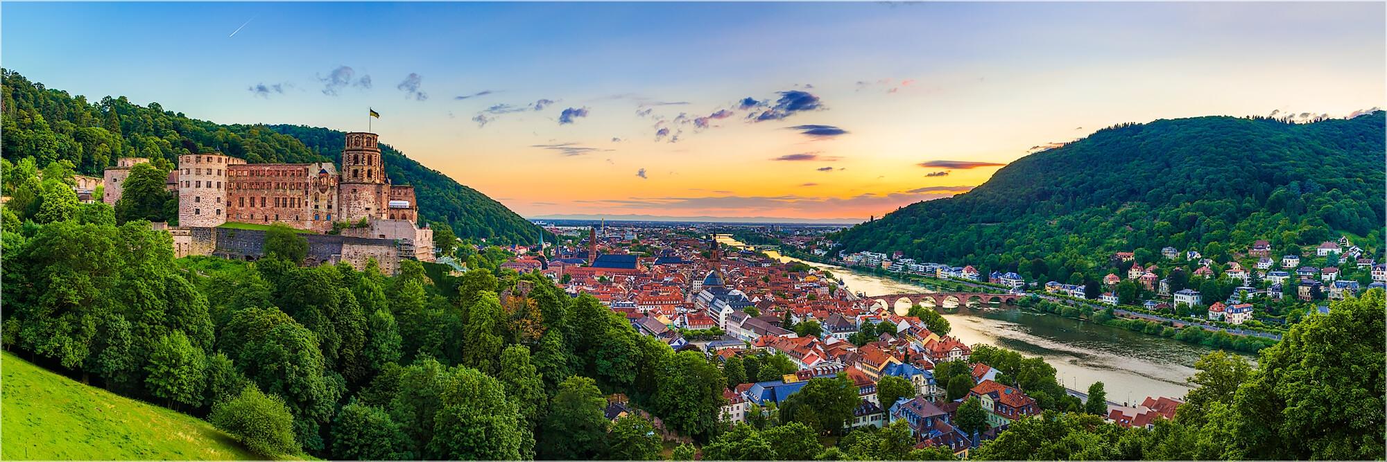 Panoramabild Blick über Heidelberg und das Schloß