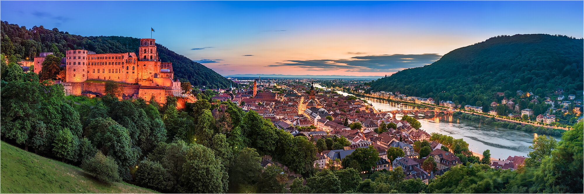 Panoramafoto Heidelberg nach dem Sonnenuntergang