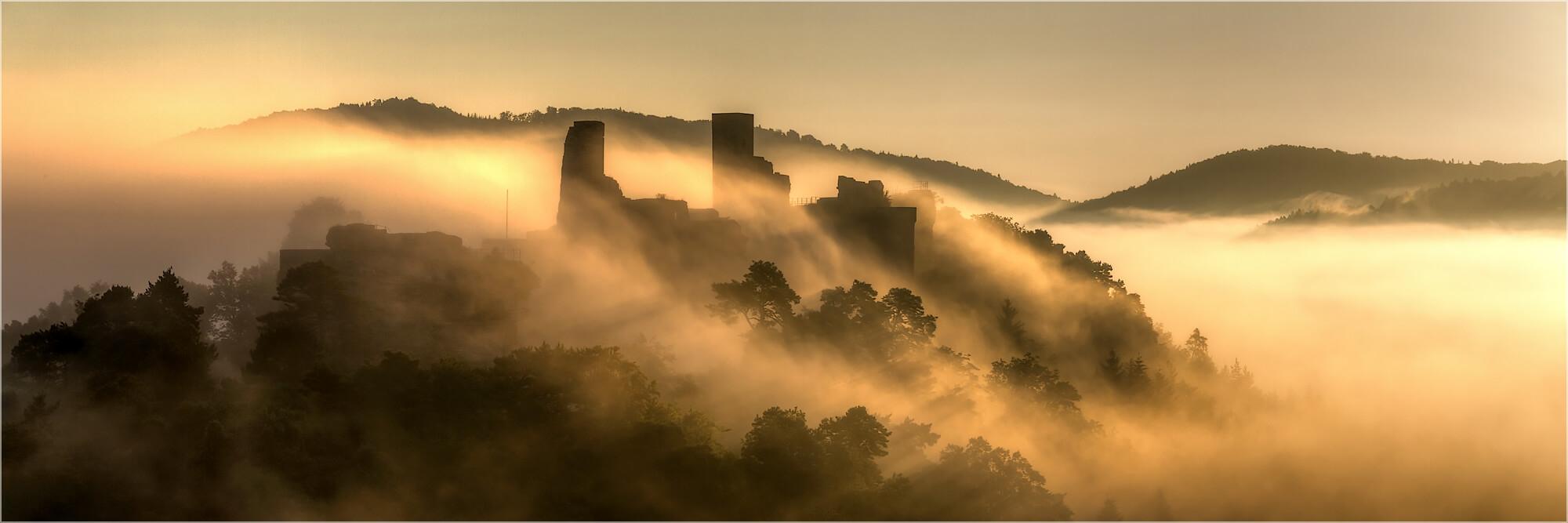 Panoramabild Morgennebel über der Burg Altdahn Pfalz