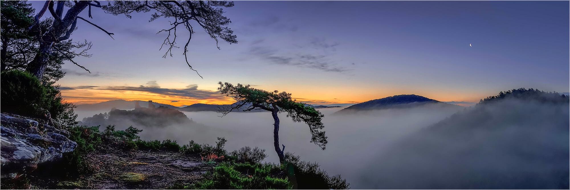 Panoramafoto Morgennebel am Haferfels bei Dahn Pflaz