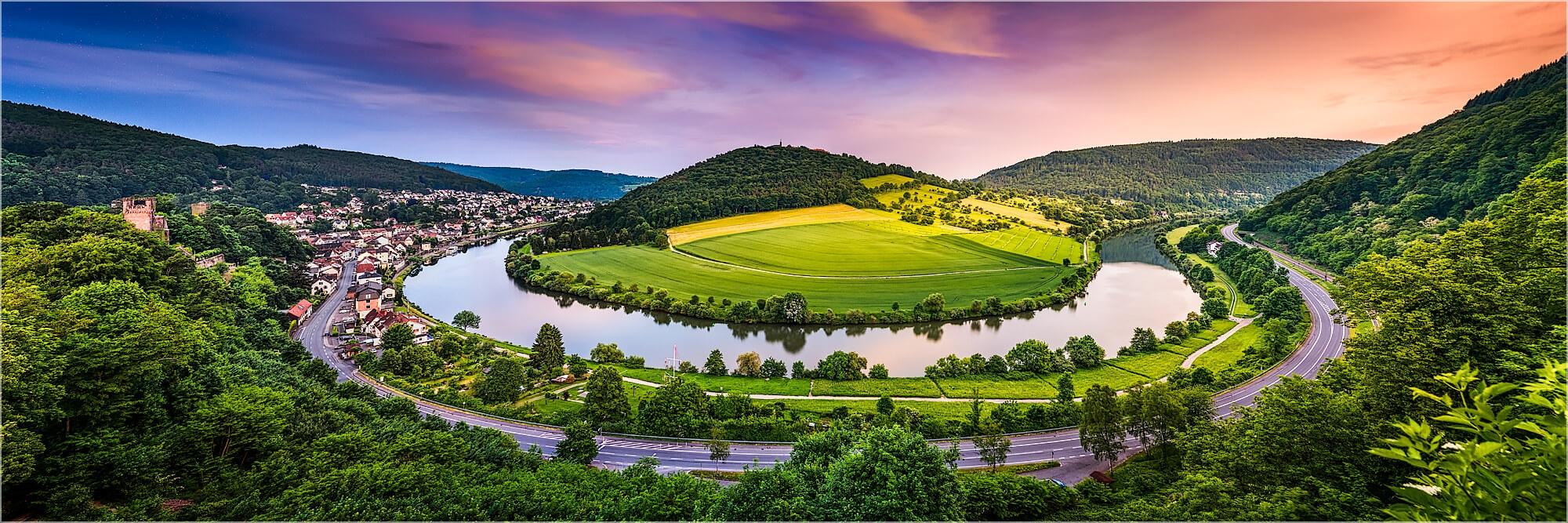Panoramabild Neckarschleife bei Neckarsteinach