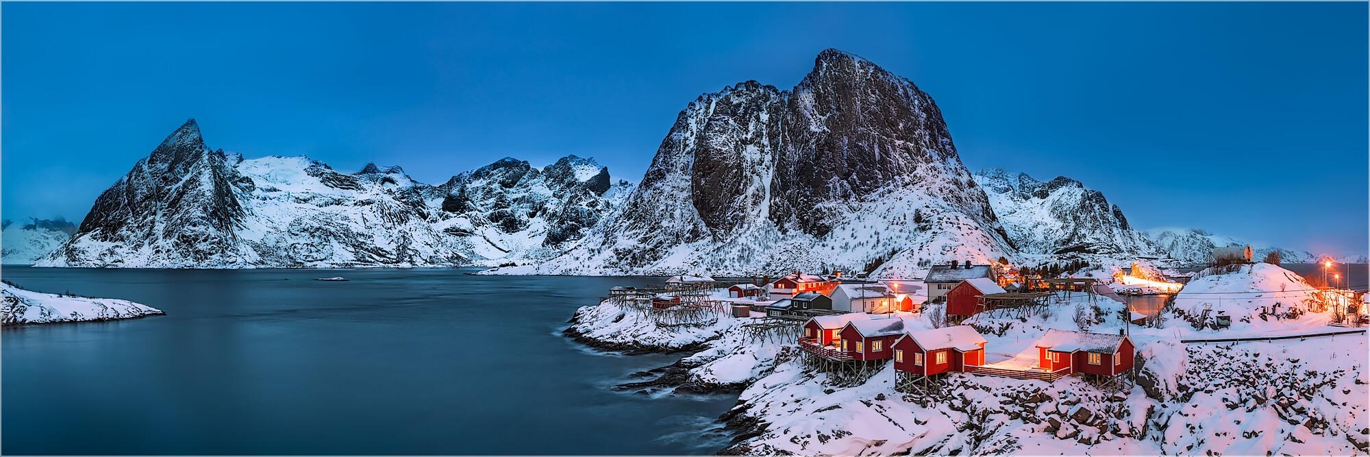 Panoramabild Polartag in Hamnøy Lofoten Norwegen