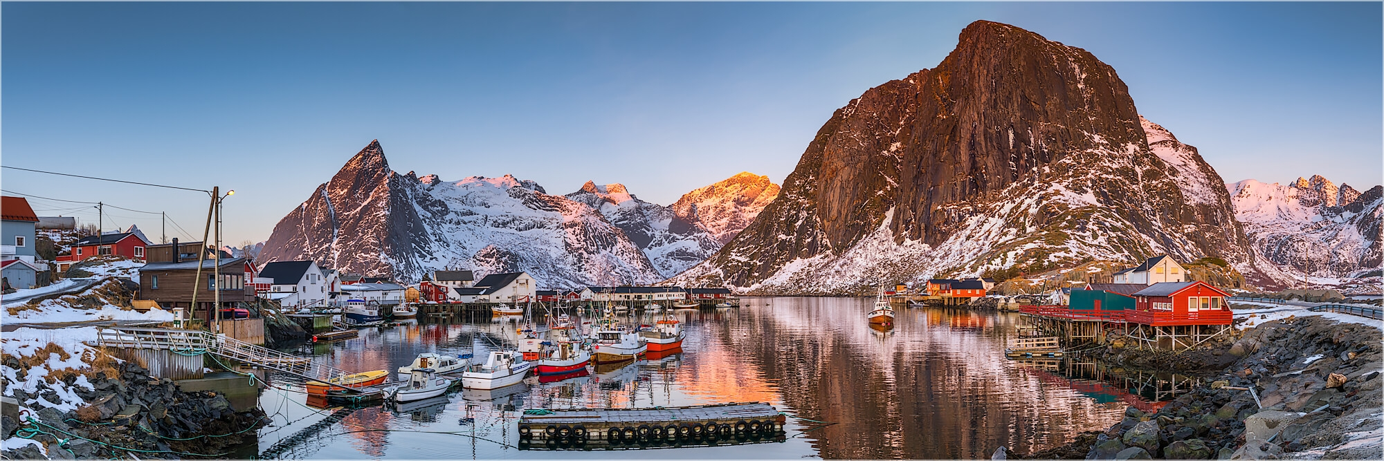 Panoramafoto Hafen von Hamnøy Lofoten Norwegen