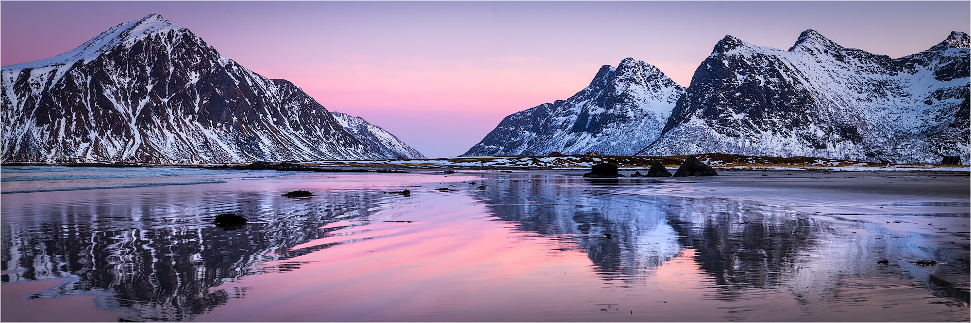 Panoramabild Polarwinter am Strand Lofoten Norwegen