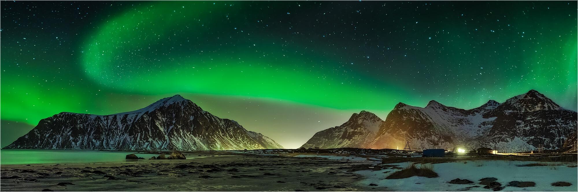 Panoramabild Aurora Borealis Flakstad Lofoten Norwegen