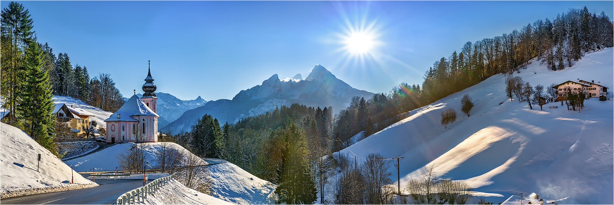 Panoramafoto Wintertag Maria Gern Berchtesgaden