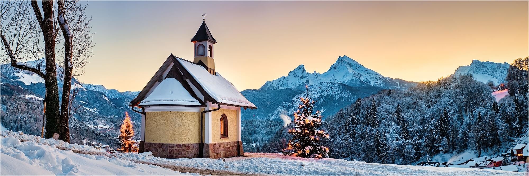 Panoramafoto Winter in Berchtesgaden am Lockstein