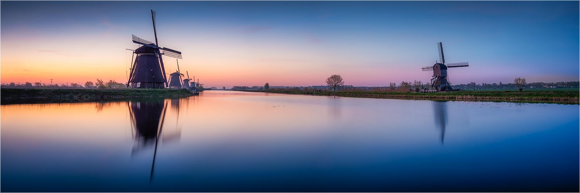 Panoramabild Windmühlen von Kinderdijk Holland