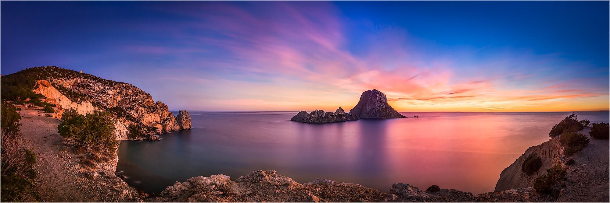 Panoramabild  Es Vedra Felsen Ibiza Spanien