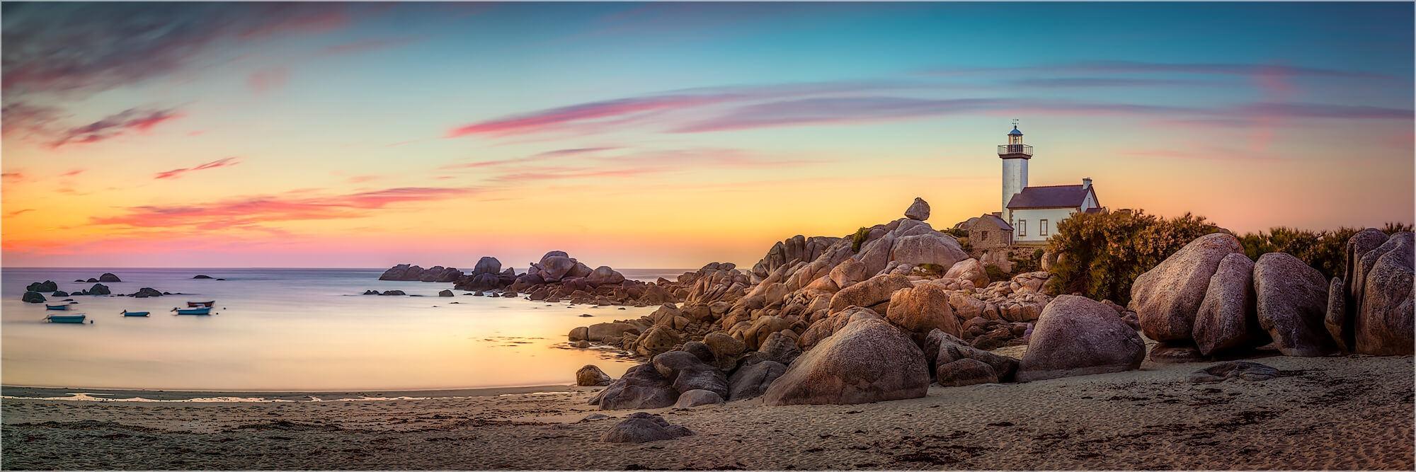 Panoramafoto Frankreich Bretagne Strand von Pontusval