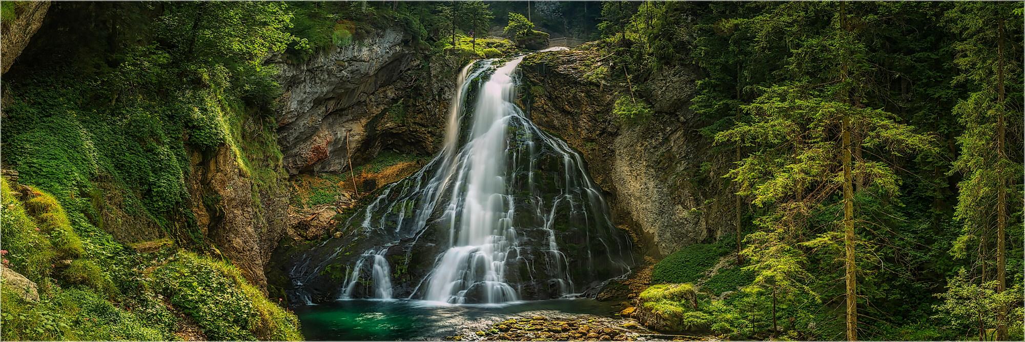 Panoramabild Gollinger Wasserfall Golling Österreich