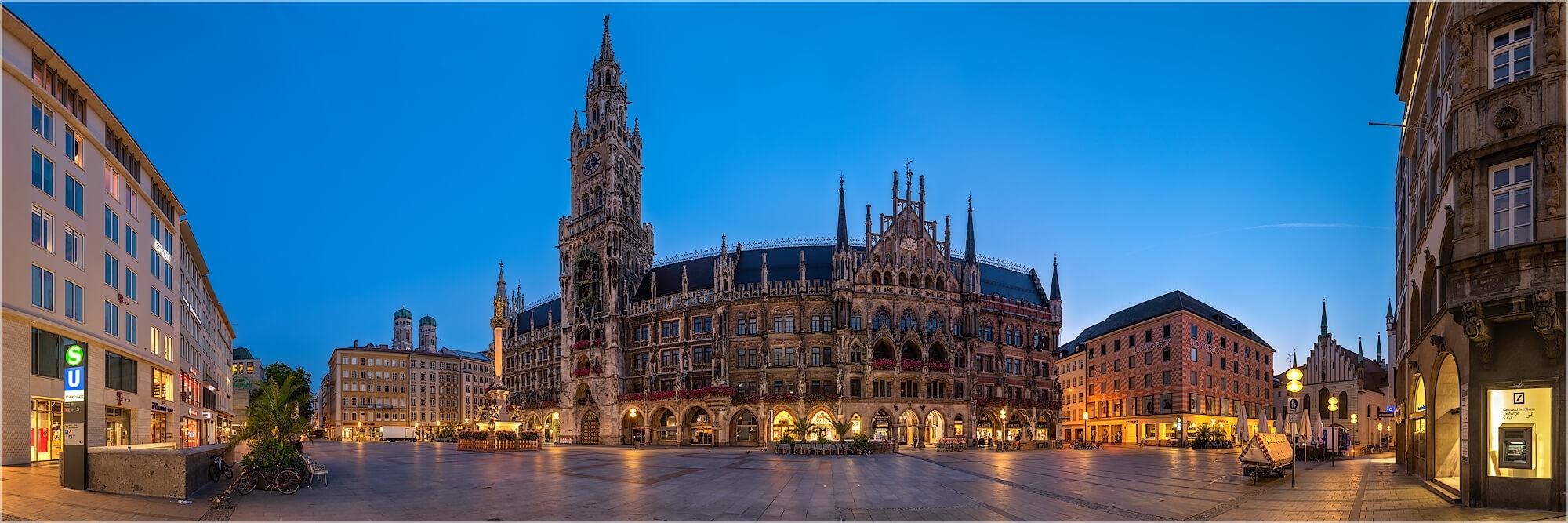 Panoramafoto München Münchner Marienplatz
