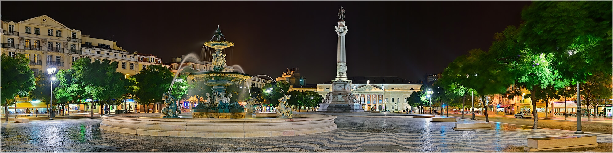 Panoramabild Lissabon Parca Rossio Platz