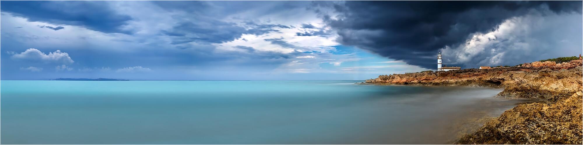 Panoramabild Gewitterstimmung Ses Salinas Mallorca
