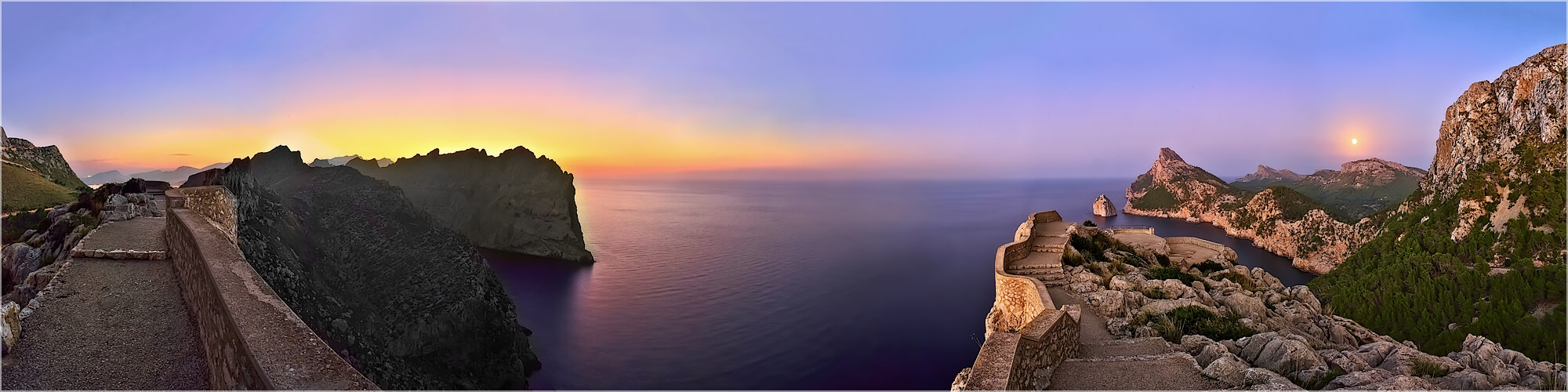 Panoramabild Letztes Licht Cap Formentor Mallorca