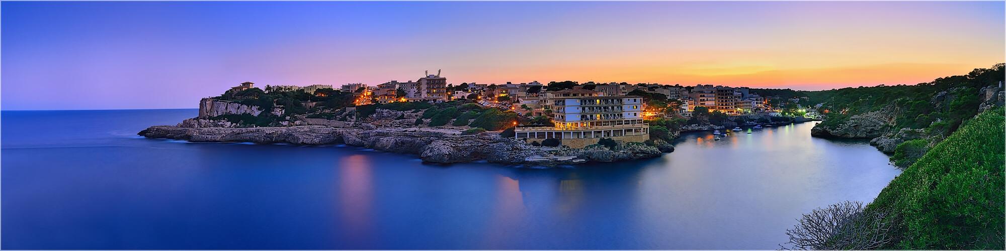 Panoramabild Sonnenuntergang Cala Figuera Mallorca