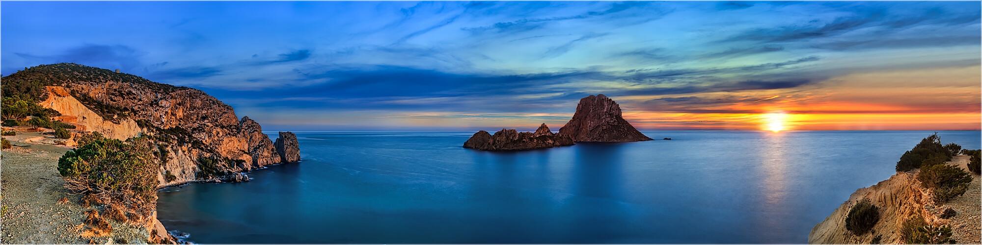 Panoramabild Ibiza Torre de Pirata Es Vedra Felsen