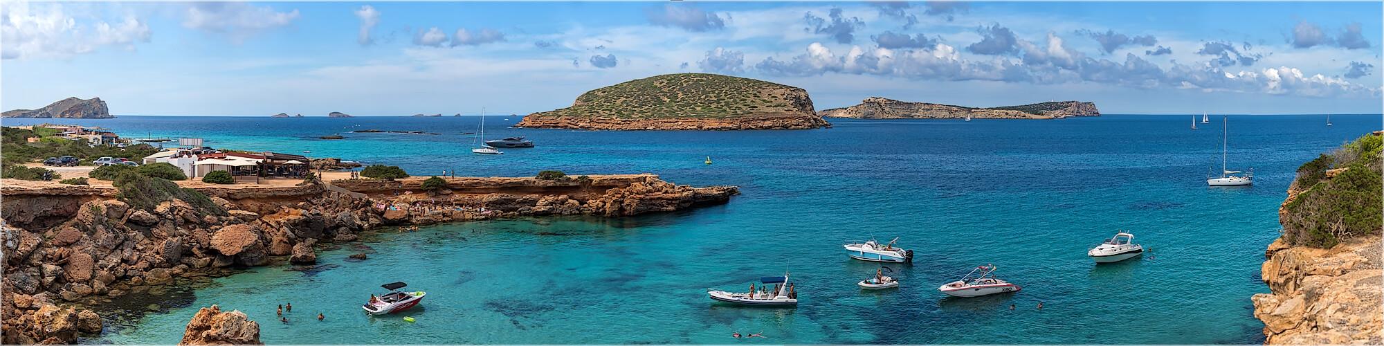 Panoramabild Ibiza an der Playa Comte