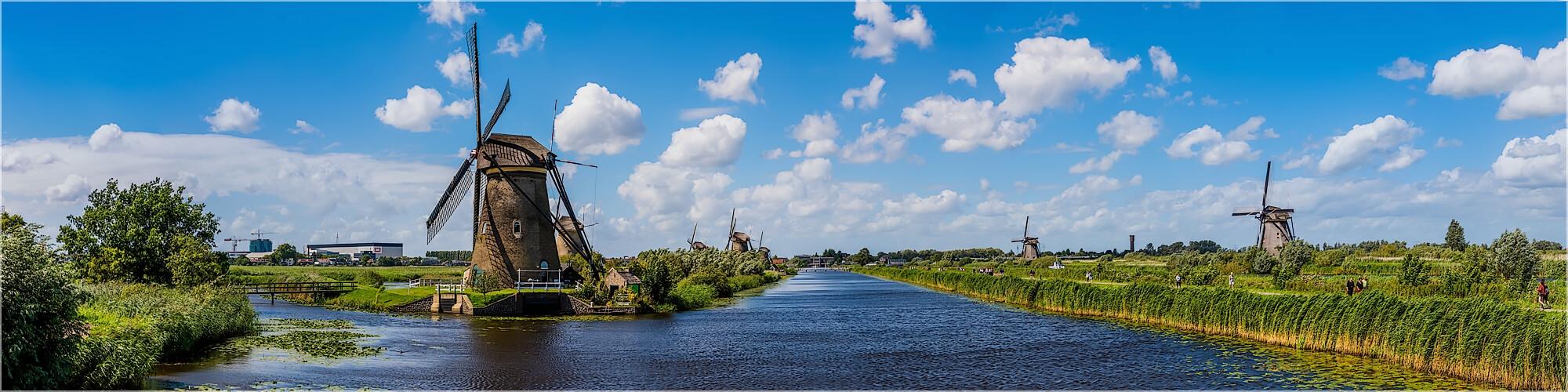 Panoramabild Windmühlen von Kinderdijk