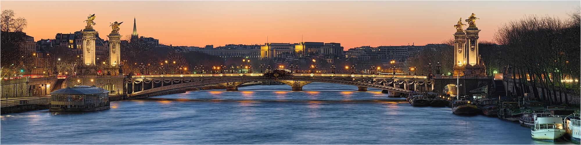 Panoramabild Paris an der Seine Pont Alexandre III