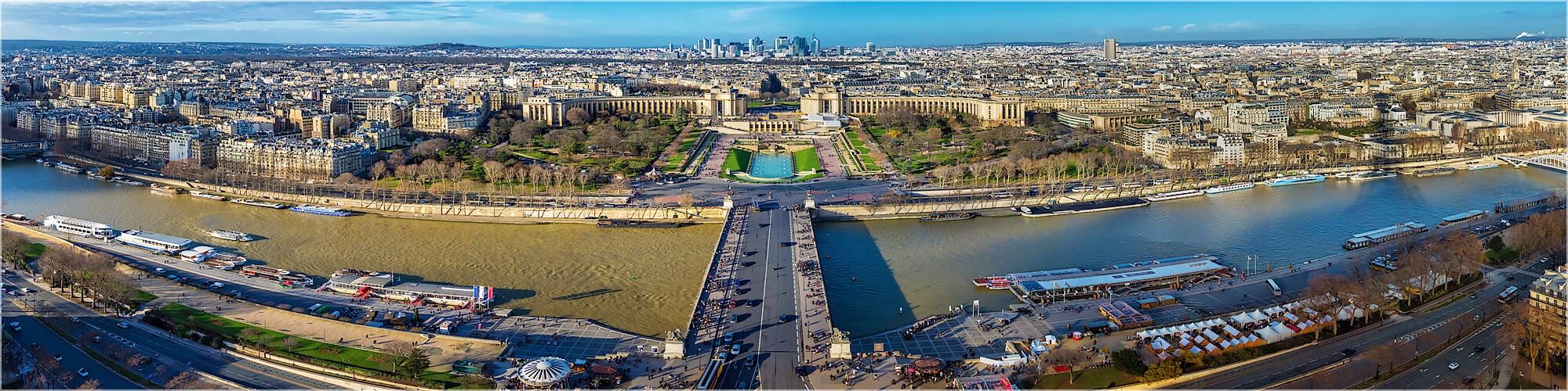 Panoramabild Paris Blick vom Eifelturm auf Trocadéro